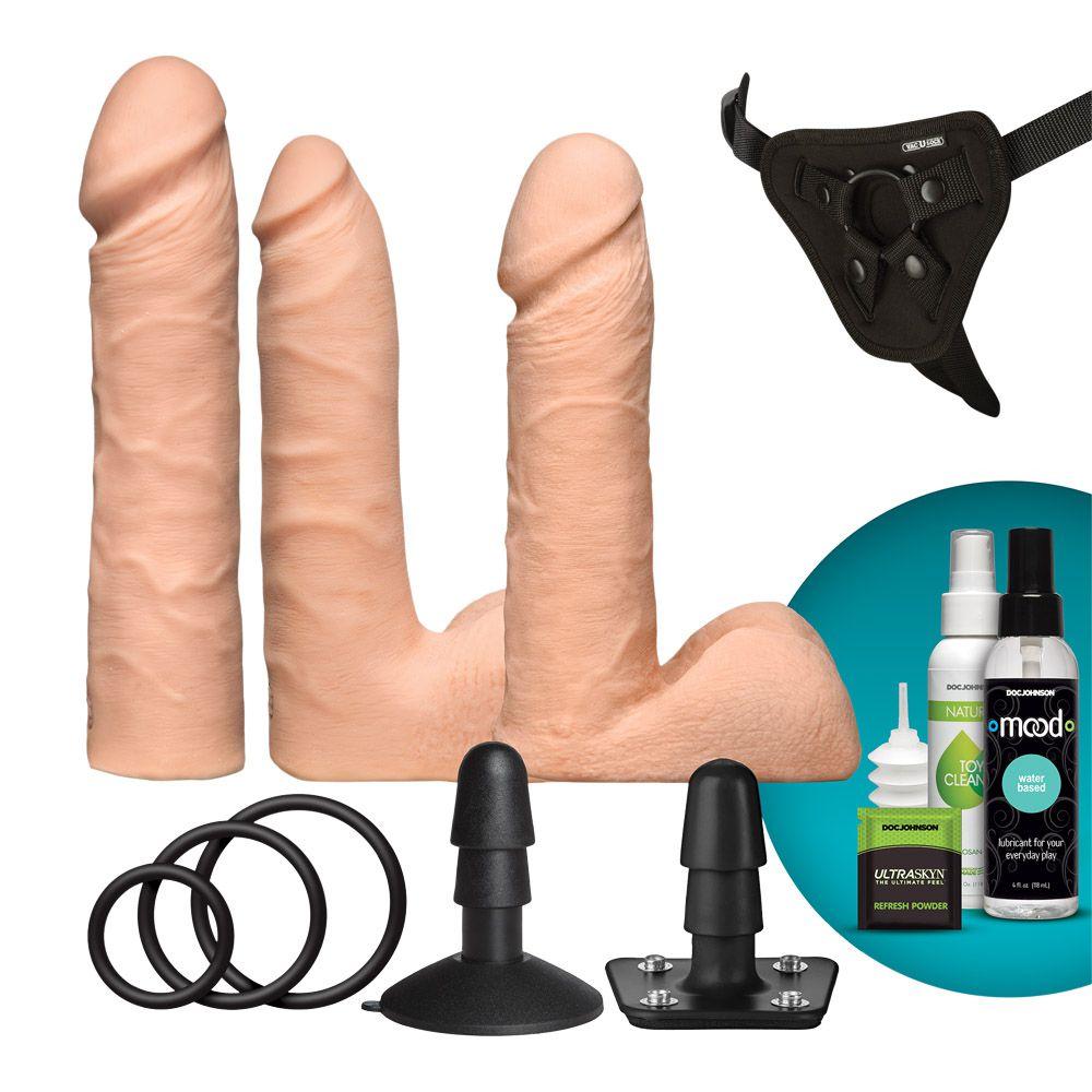 Køb Doc Johnson Vac-U-Lock Dual Density UltraSKYN Set  –  Komfortabelt Pegging-Sæt