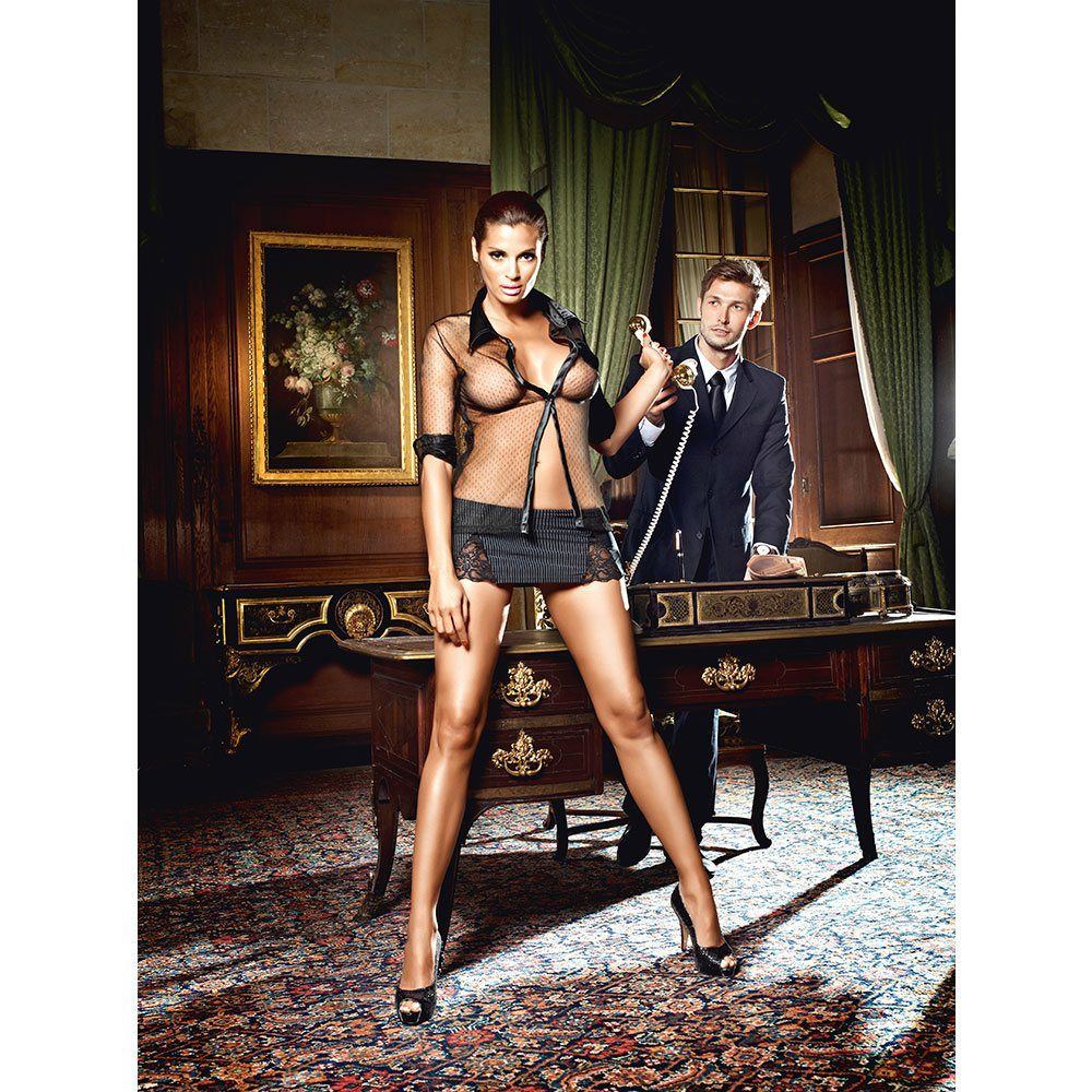 Image of   Baci - Sekretærkostume med nålestribet nederdel og langærmet bluse-XL/XXL