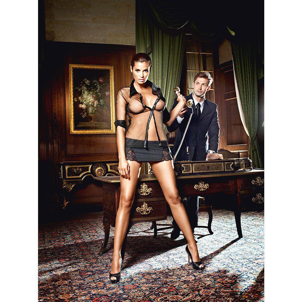 Image of   Baci - Sekretærkostume med nålestribet nederdel og langærmet bluse-3XL/4XL