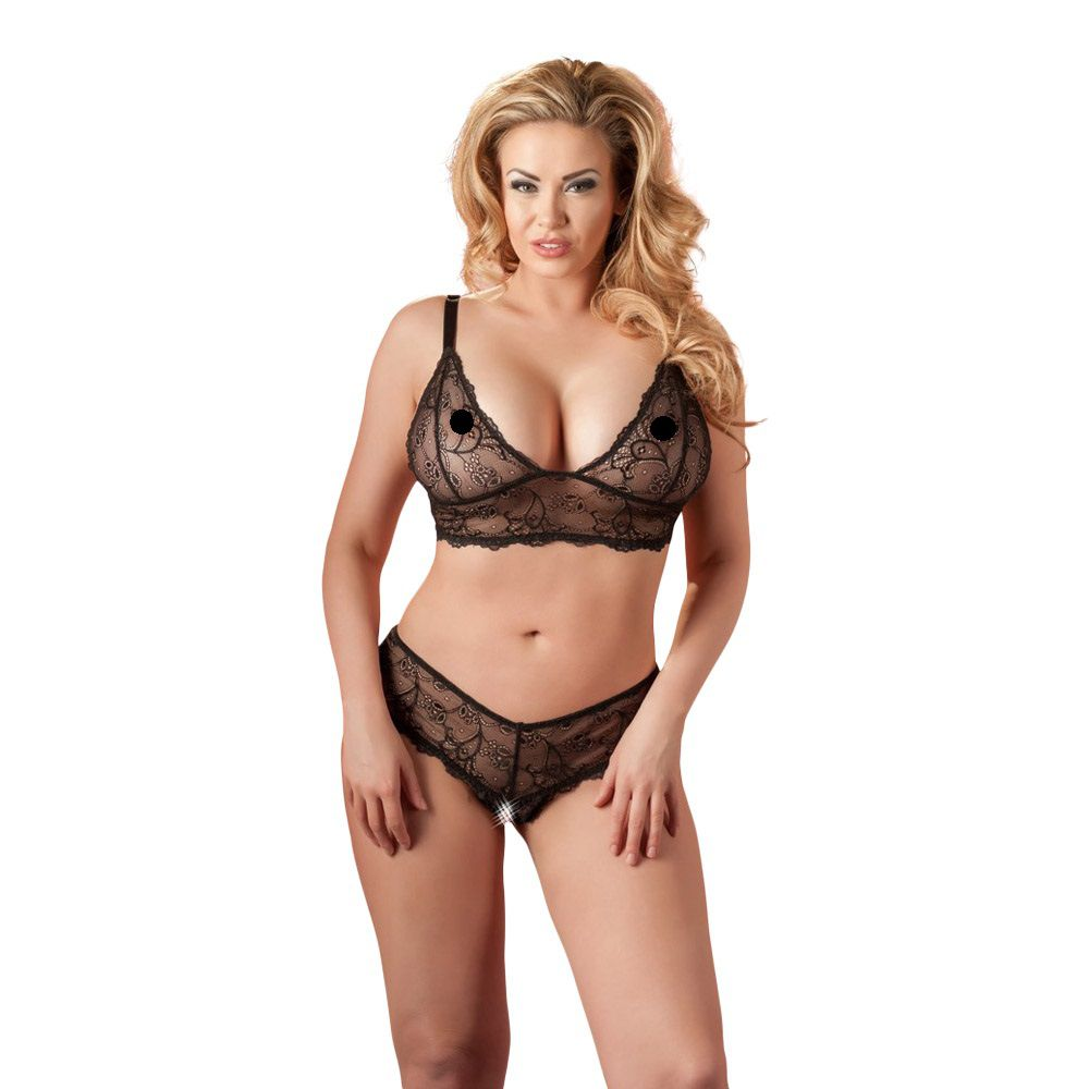 Billede af Cottelli Collection, Cottelli  -  Bundløs Blonde bh-sæt Plus Size -2XL