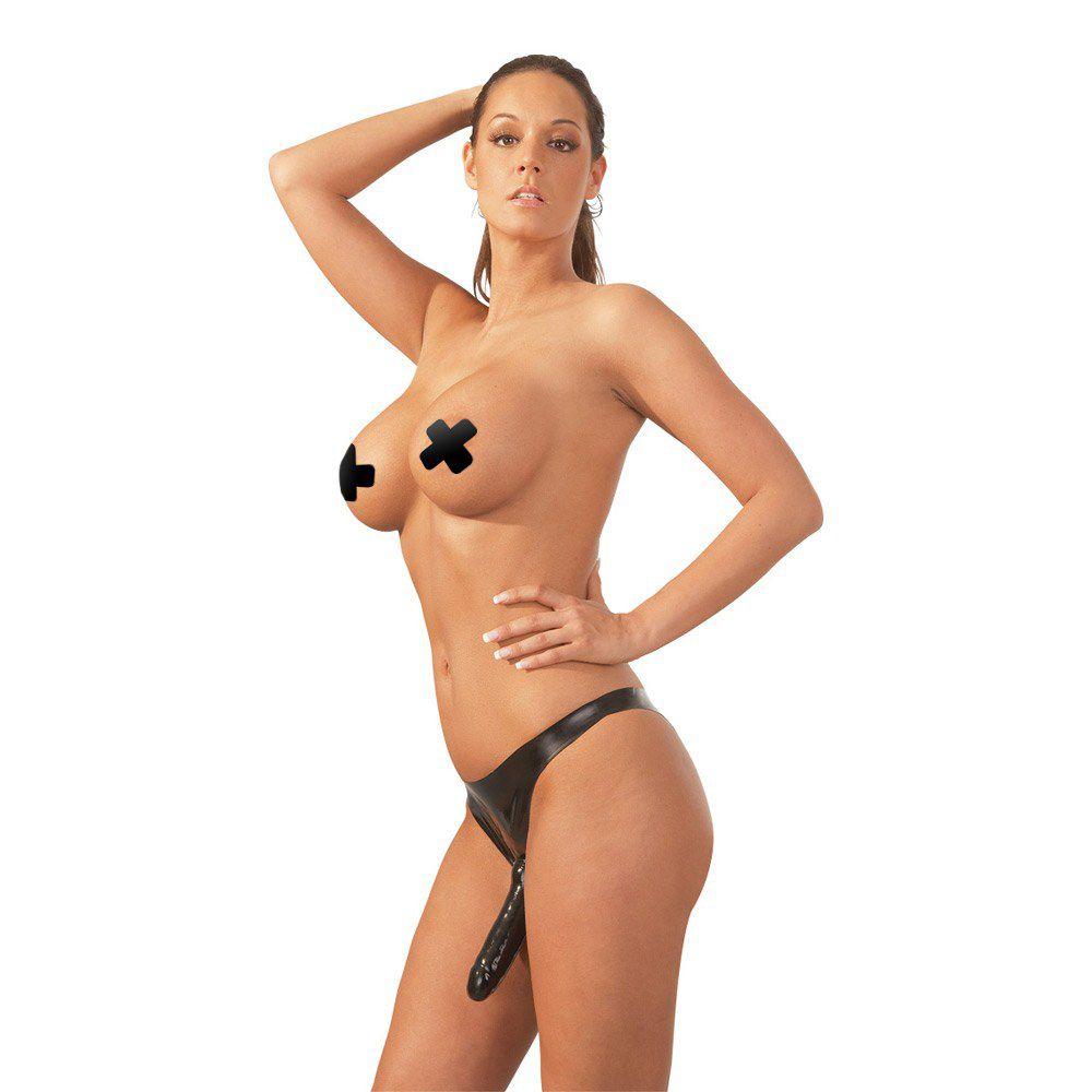 Latex trusser med tre dildoer