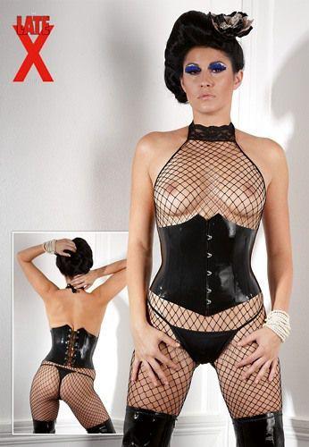 Latex Waist Corset Black-L