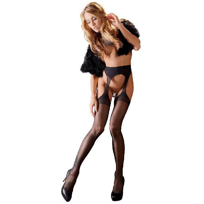 Image of   Cottelli Collection Sexy Tights - Strømper Og Strømpeholder