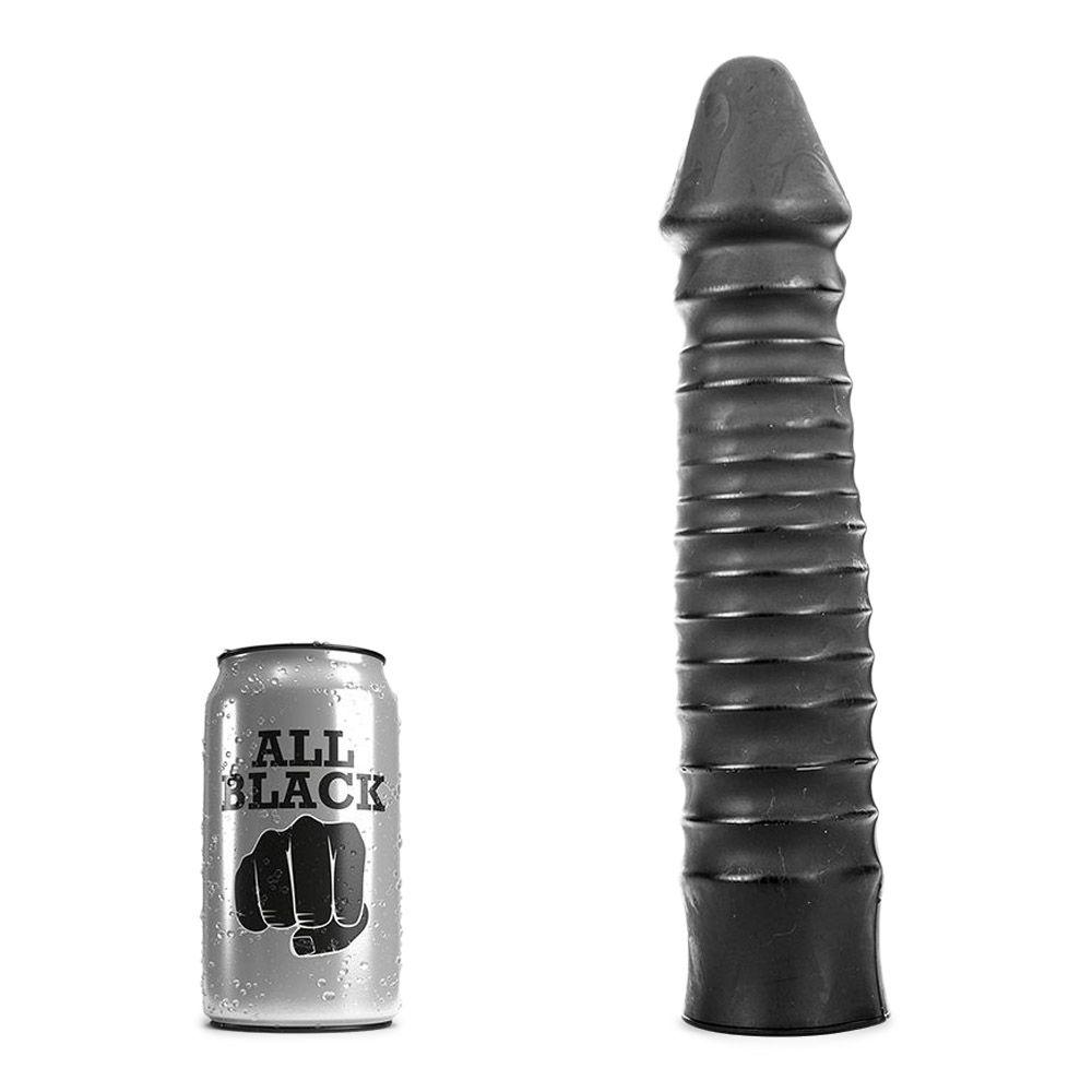 Image of   All Black 29 - stor anal dildo med riller