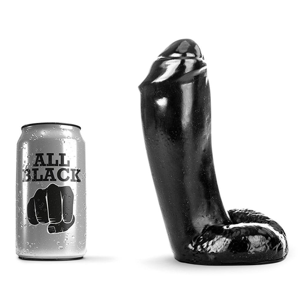 Image of   All Black 46 - Tyk, Realistisk Dildo