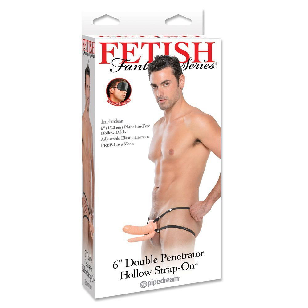 Fetish Fantasy Dobbelt Hollow Strap-on - lys hudfarve